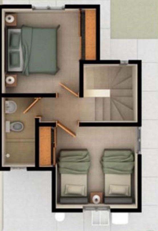 Casa de 2 pisos con las habitaciones arriba for Pisos de dos habitaciones