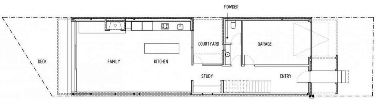 Plano de casa para terreno angosto planos de casas modernas for Cocina 4 metros largo