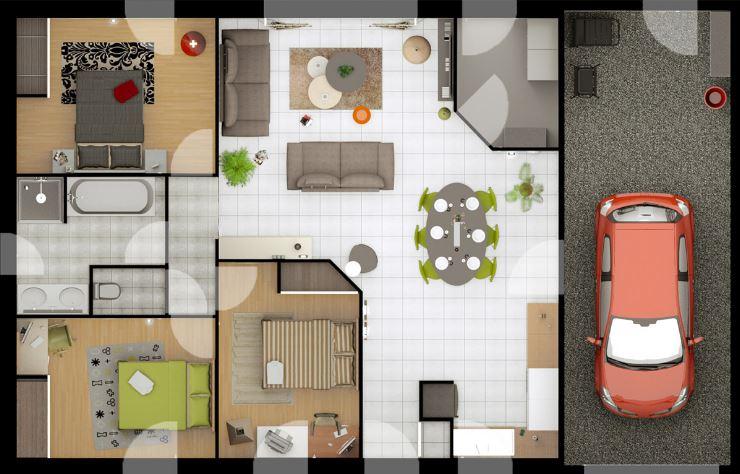 Plano de casa sencilla de tres dormitorios planos de for Casas modernas de 80 metros