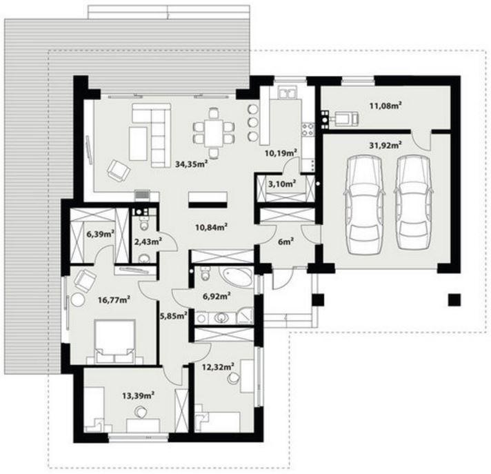 Planos de casas modernas de 1 piso y 3 habitaciones - Casas unifamiliares planos ...