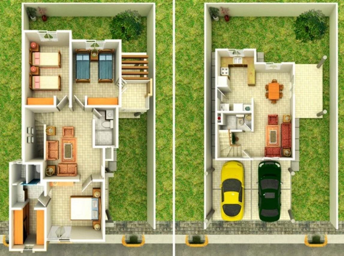 planos de casas de dos pisos con jardin