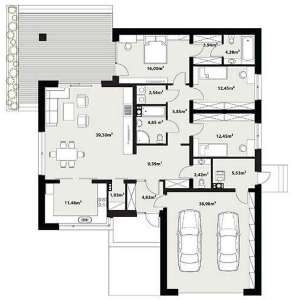 Planos de casas modernas de 1 piso y 3 habitaciones for Vivienda minimalista planos