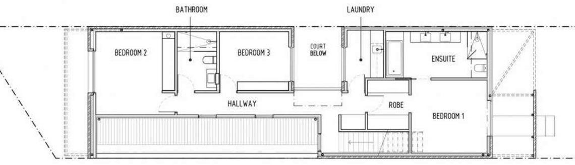 Plano de casa para terreno angosto planos de casas modernas for Escalera de 5 metros
