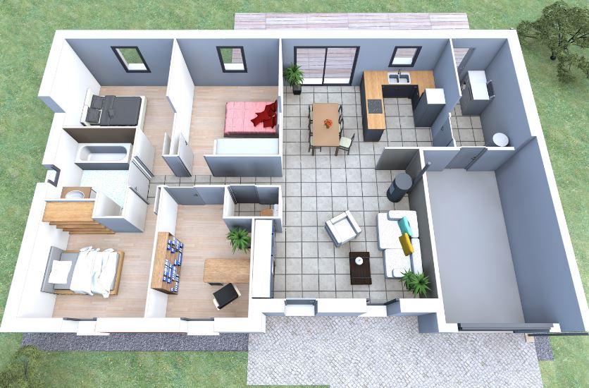 Planos de casas de 100 metros cuadrados en 3d for Diseno de apartamentos de 90 metros cuadrados