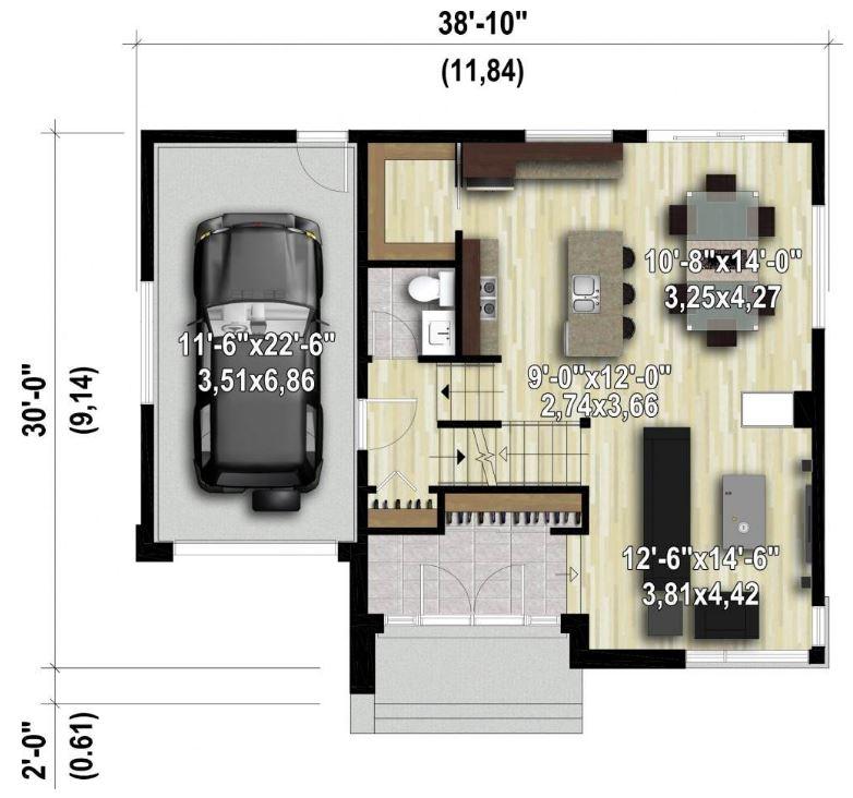 Plano de casa de 12x10 for Diseno casa planta baja