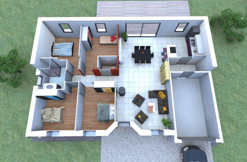 Planos de casas de 100 metros cuadrados en 3d for Cuarto de 10 metros cuadrados