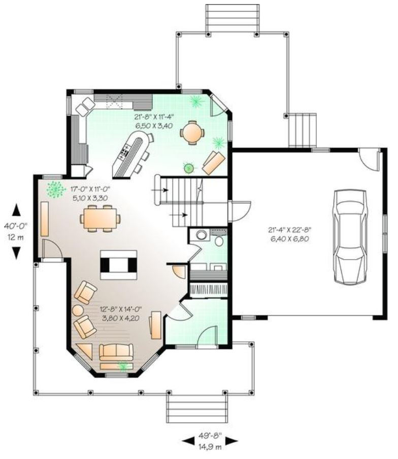 Planos de casas modernas planos de casas gratis y modernas for Planos de cocinas de 15 metros cuadrados