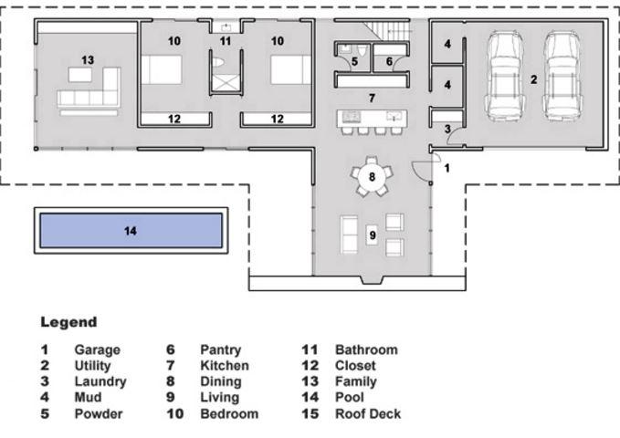 Plano de casa con cochera doble planos de casas modernas for Formas de techos para casas