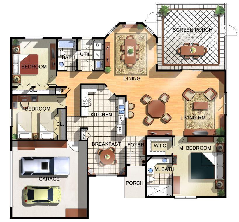 Plano de casa de un piso planos de casas modernas for Plano casa moderna 3 habitaciones