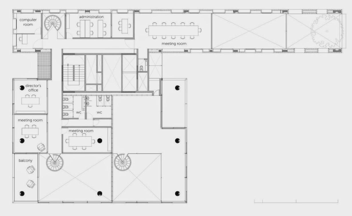 Plano de edificio de oficinas for Planos de oficinas modernas