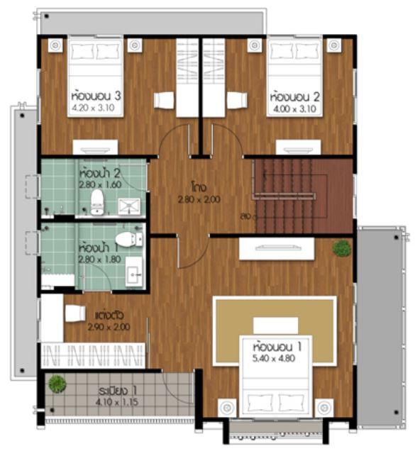 Plano De Casa De Dos Pisos 4 Dormitorios Y 3 Ba 241 Os