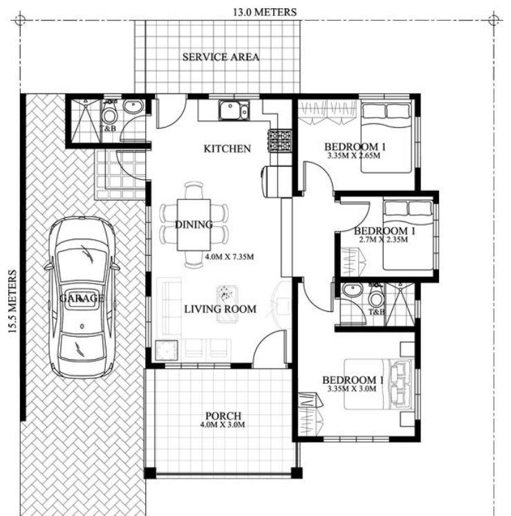 Planos para una casa de cara a la fachada se prev la for Las medidas de una casa libro
