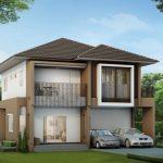 Plano de casa de dos pisos, 4 dormitorios y 3 baños