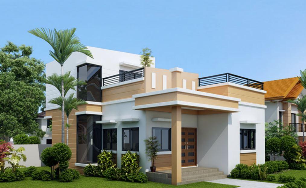 Dise o de casa peque a de 2 plantas for Modelo de casa con terraza