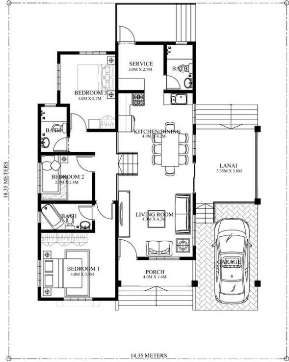 Plano de departamento de 3 dormitorios con lavadero hogar for Planos de cocina lavadero