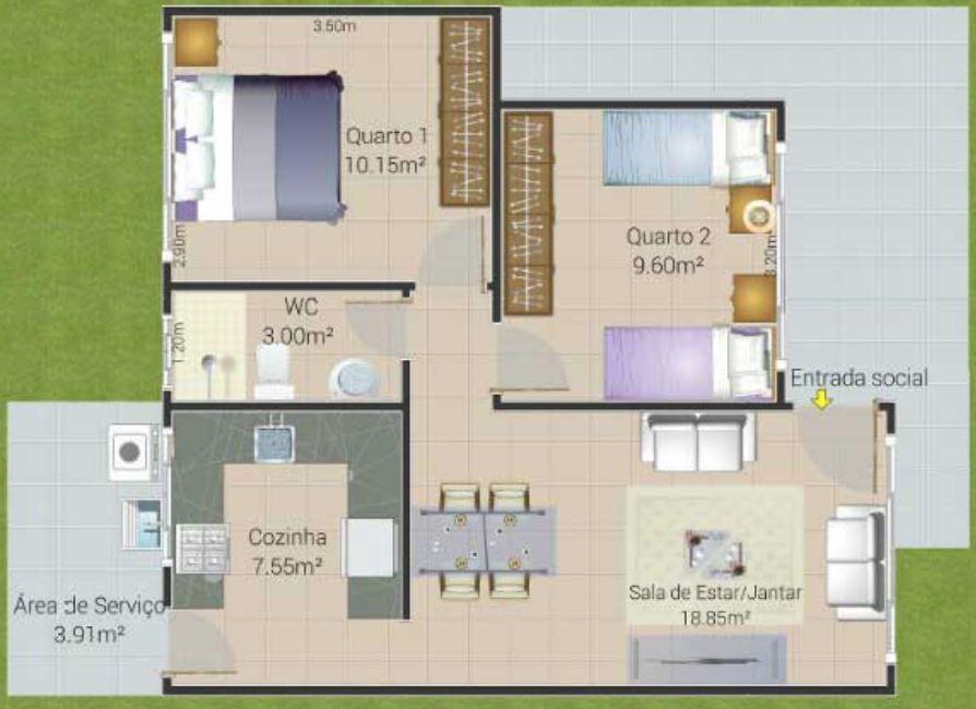 2 dormitorios planos de casas modernas for Casa moderna 50 metros cuadrados