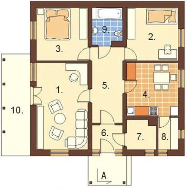 Planos de casas de 2 dormitorios 60 metros for Cuarto de 10 metros cuadrados