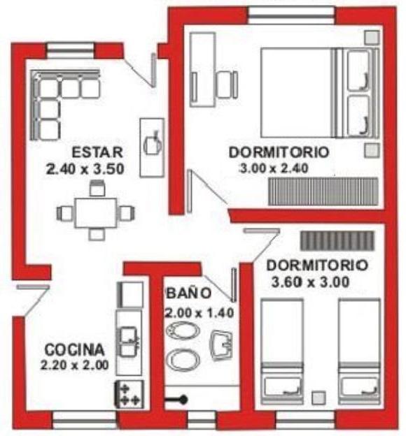 Planos de casas de 2 dormitorios 60 metros for Casa minimalista 60m2