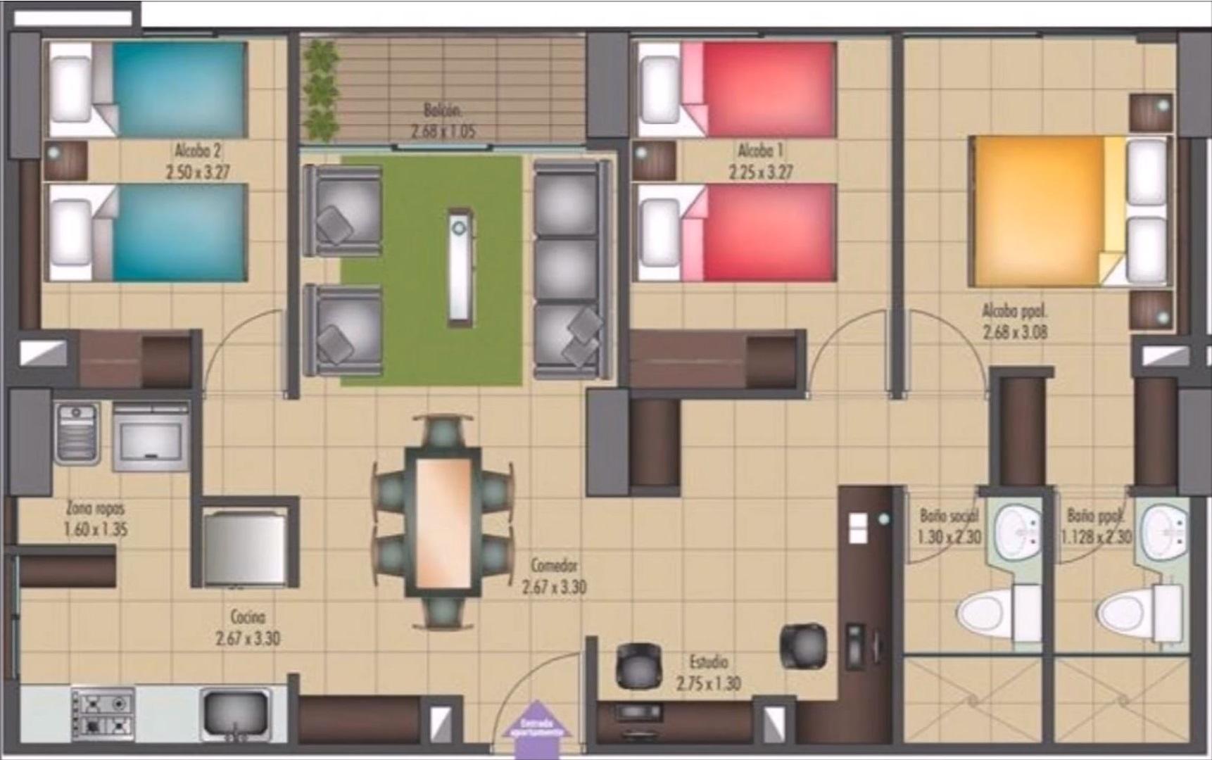 Plano de casa de 1 piso planos de casas modernas for Plano casa un piso