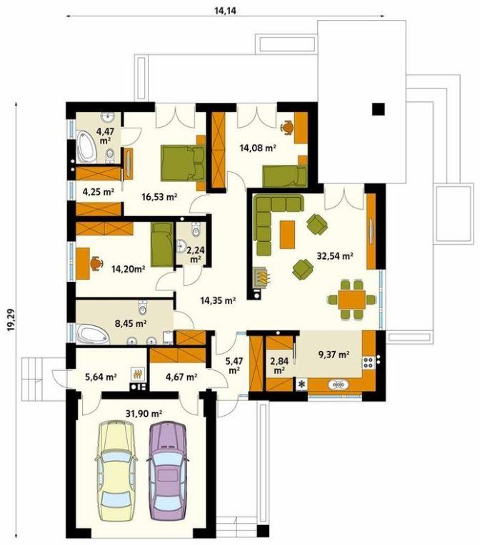 Planos de casas modernas planos de casas gratis y modernas - Distribucion piso 90 metros ...