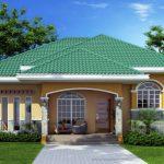 Plano de casa moderna con techo de cuatro aguas