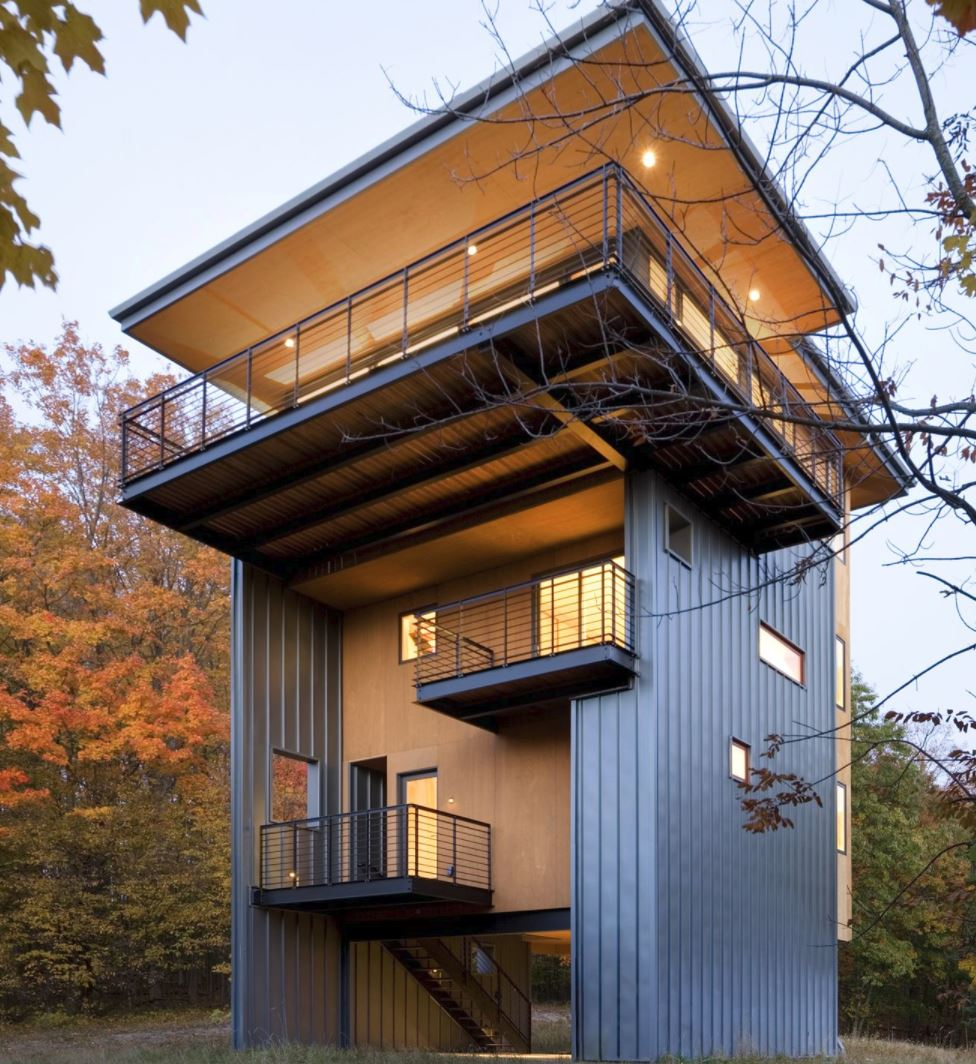 Plano De Casa Moderna De 4 Pisos