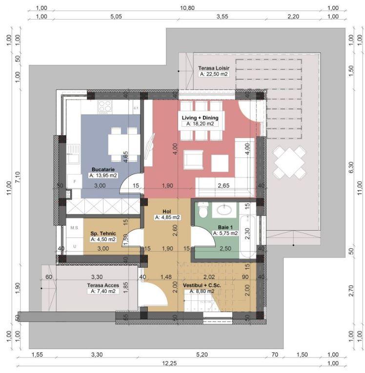 Lujoso planos de casas de un piso 3 dormitorios friso for Plano piso 3 habitaciones