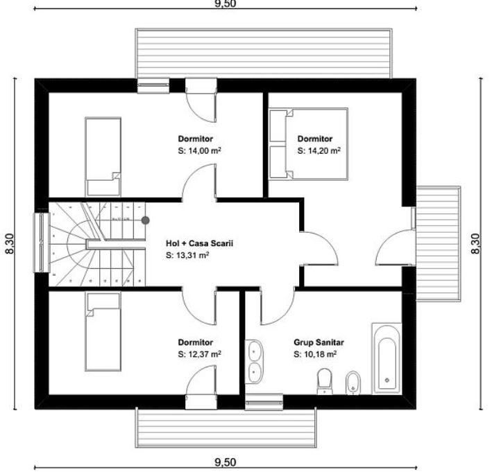 Planos de casas de dos pisos 3 dormitorios 2 ba os for Diseno casa de 2 habitaciones