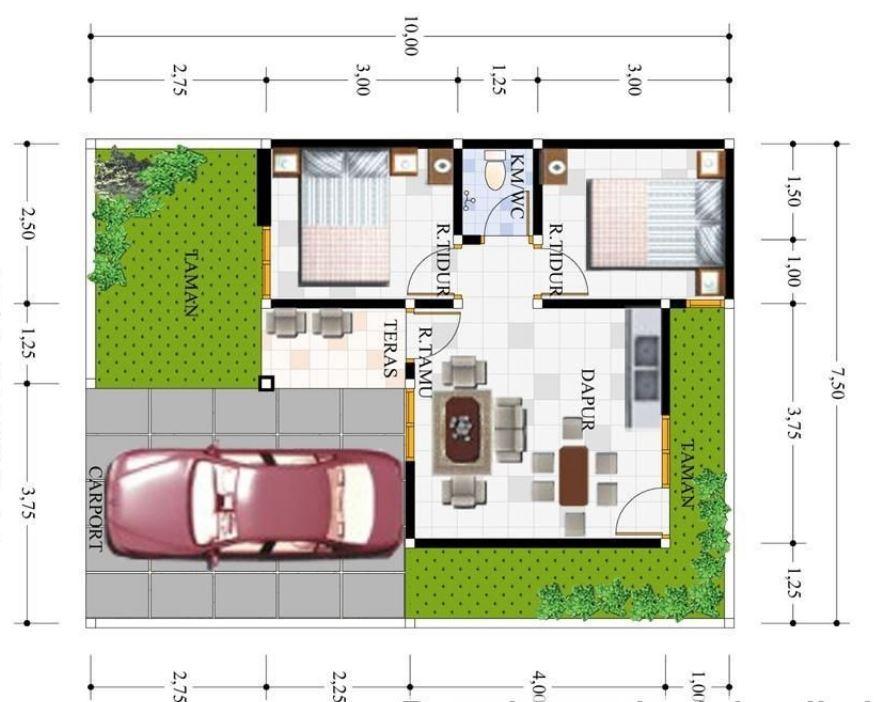 5 planos de casas chicas con medidas en metros for Planos de casas con medidas