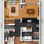 Plano de casa de 3 pisos para terreno angosto