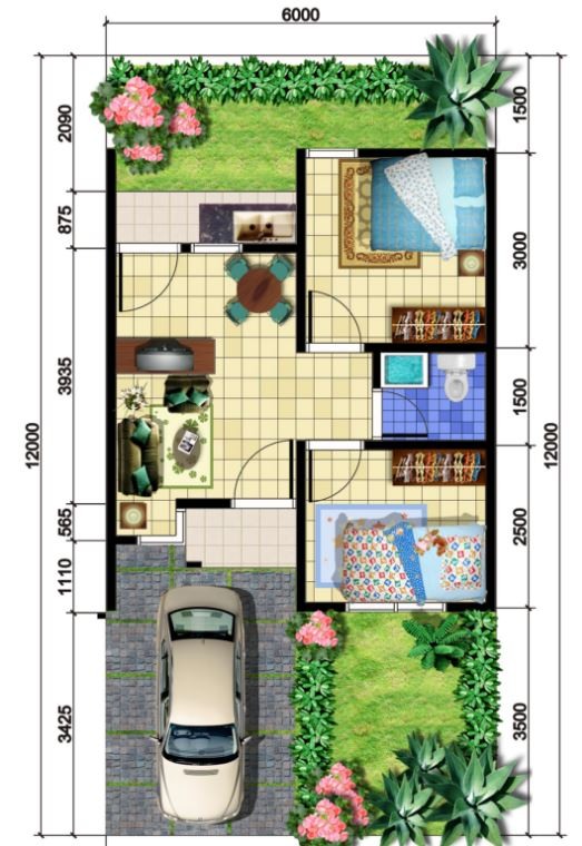 Planos de casas de 6m x 12m