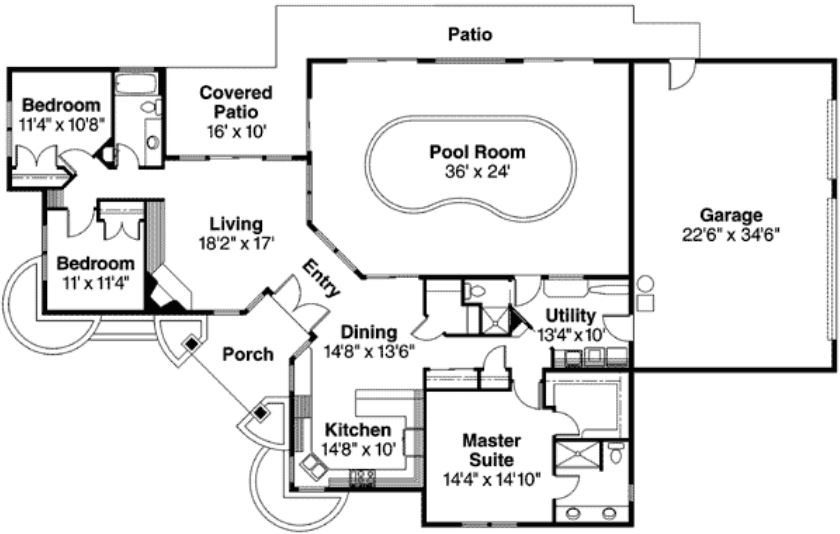 Plano de casa con piscina interior for Planos de casas con piscina y jardin