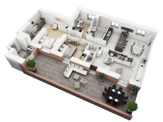 Planos de departamentos con balcones planos de casas for Planos de oficinas modernas