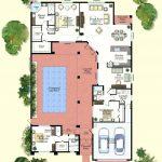 Plano de casa con piscina interior