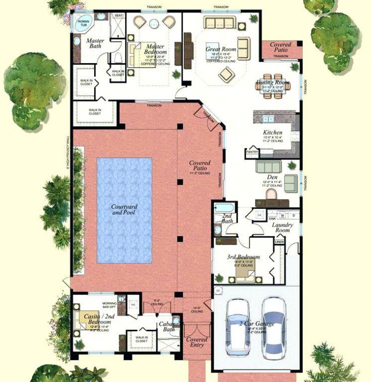 Plano de casa con piscina interior for Planos de casas con patio interior