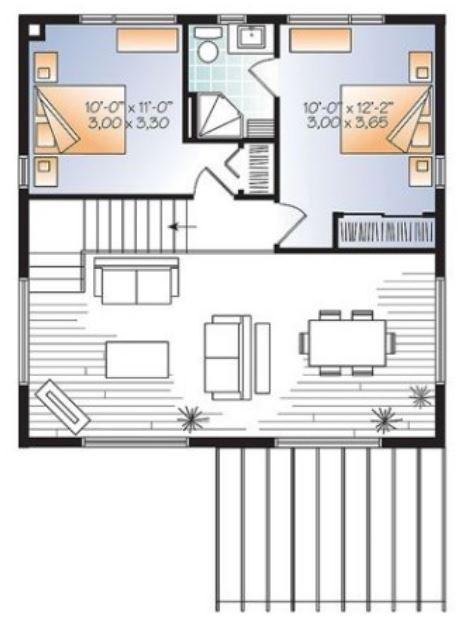 Planos de casas de dos pisos con techos inclinados for Techos planos para casas