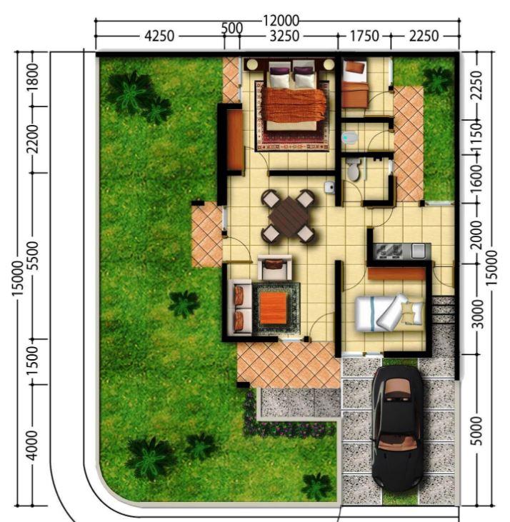 Plano de casa con medidas en metros planos de casas modernas for Planos planos de casas