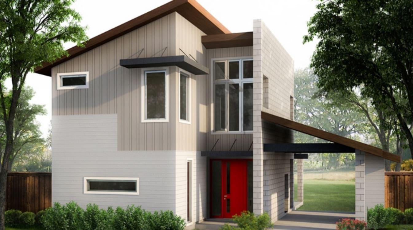 Planos de casas de dos pisos con techos inclinados for Casa minimalista rojo