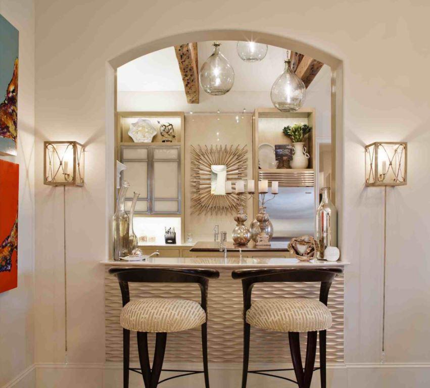 Cocinas con arcos planos de casas modernas Cocinas pequenas modernas con barra