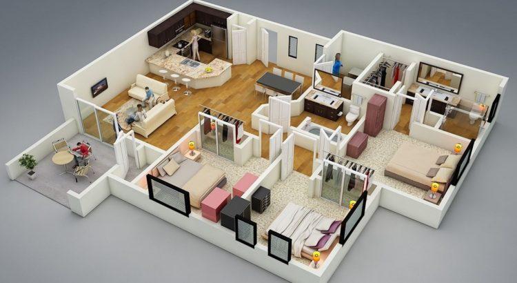 Planos de apartamentos planos de casas modernas for Distribucion departamentos modernos