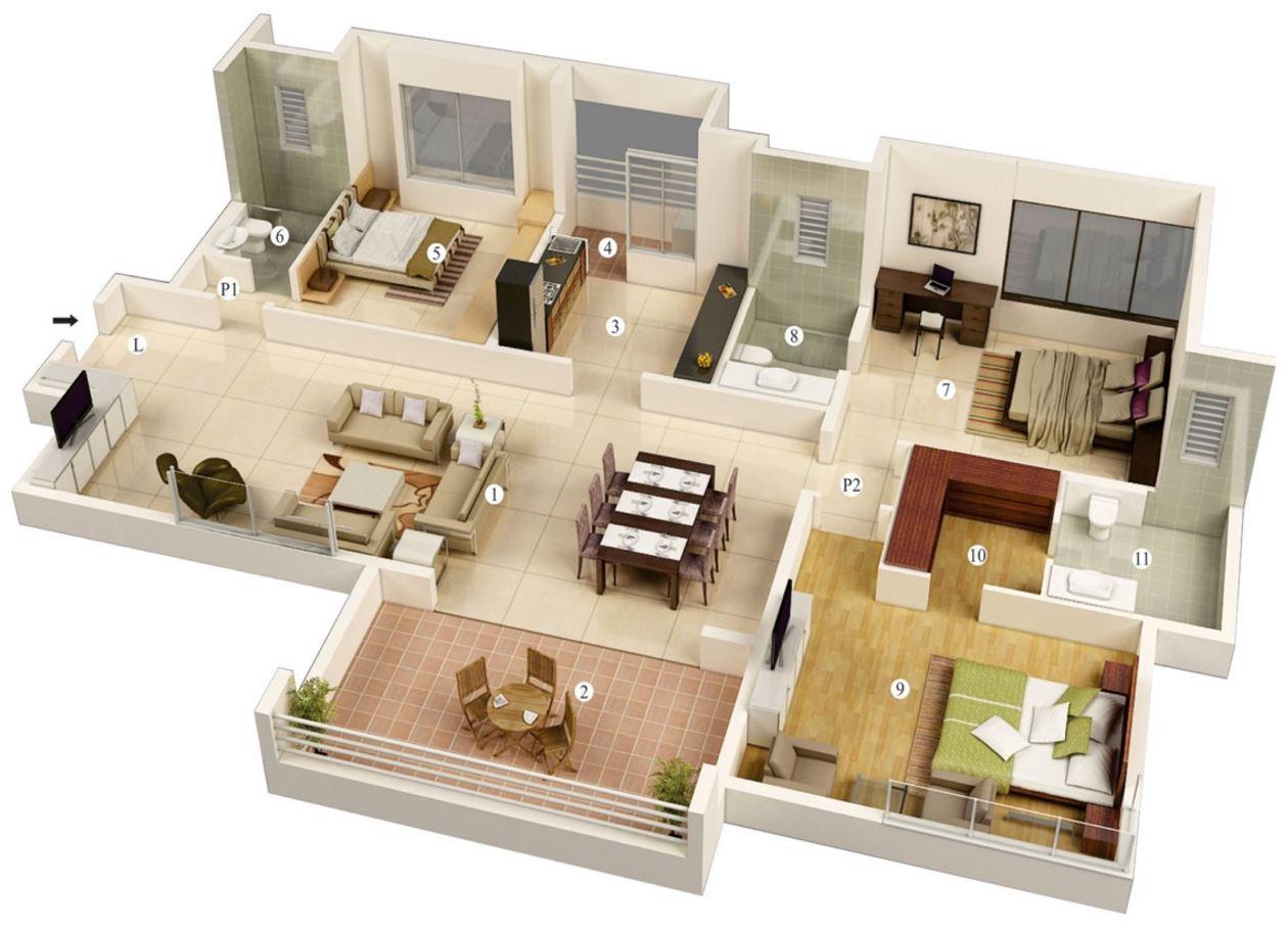 Dise os de apartamentos de 3 habitaciones y m s de 100m2 for Diseno de apartamento de 3 habitaciones
