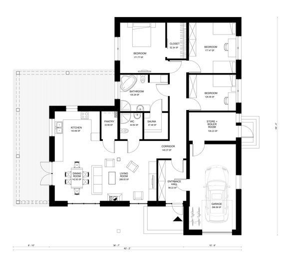 Planos de casas con tres dormitorios 6 dise os modernos - Cocina cuadrada distribucion ...