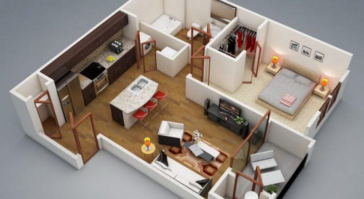 Plano de departamento de 1 dormitorio planos de casas for Planos de apartamentos modernos