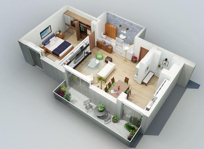 10 modelos de apartamentos de 1 dormitorio for Casa moderna 6x6