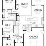 Plano de casa moderna con 3 dormitorios y garaje doble