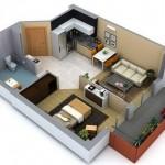 Plano de departamento de 1 dormitorio con balcón