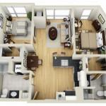 Plano de casa de dos dormitorios y dos baños