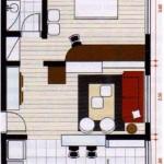 Plano de departamento de un dormitorio en 40 m2