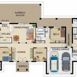Plano de casa grande de 5 dormitorios y garage doble en un piso