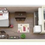 Plano de mono ambiente de 25 m2